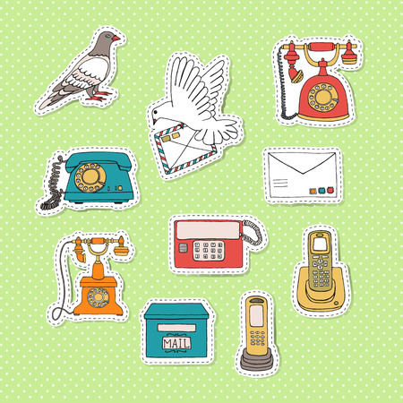 Means of communication stickers. Vector illustration of retro telephones, pigeon post, post box, letter. Bright vintage dial phone, dove, letter box, radio, wire phone on green polka dot background