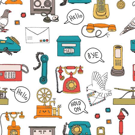 Modèle sans couture de vecteur de moyens de communication vintage. Toile de fond de répétition rétro avec téléphone à cadran rotatif filaire, téléphone radio, télégraphe, récepteur, poste de pigeon, lettre, bulle de dialogue, timbres