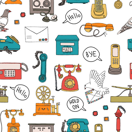 Vector seamless pattern of vintage means of communication. Retro repeat backdrop with wired rotary dial telephone, radio phone, telegraph, receiver, pigeon post, letter, speech bubble, stamps