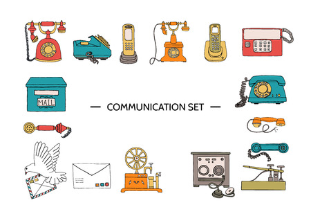 Ensemble de téléphone rétro Ensemble de moyens de communication vintage vectoriels. Collection rétro de téléphone à cadran rotatif filaire, radiotéléphone, télégraphe, récepteur, poste de pigeon, lettre, timbres. Illustration lumineuse et joyeuse