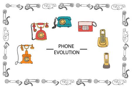 Ilustración de vector de evolución del teléfono enmarcada en patrón de receptor. Vector vintage conjunto de medios de comunicación. Colección retro de teléfono de línea giratoria con cable, teléfono de radio