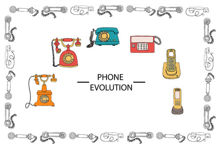Vector illustration of phone evolution framed in receiver pattern. Vector vintage means of communication set. Retro collection of wired rotary dial telephone, radio phone Stock fotó - 120658657