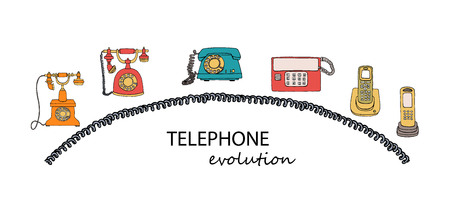 Vector illustration of phone evolution. Vector vintage means of communication set. Retro collection of wired rotary dial telephone, radio phone Stock Illustratie