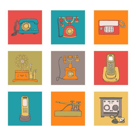 Ensemble de moyens de communication vintage vectoriels. Collection rétro de téléphone à cadran rotatif filaire, radiotéléphone, télégraphe, récepteur. Illustration lumineuse et gaie dans des blocs colorés