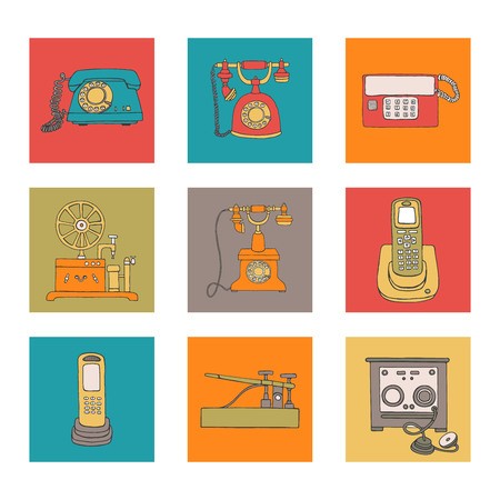 Vector vintage means of communication set. Retro collection of wired rotary dial telephone, radio phone, telegraph, receiver. Bright and cheerful illustration in colorful blocks