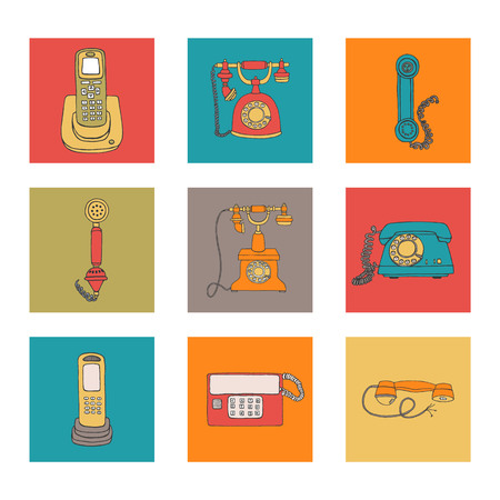 Vector illustration of vintage phone framed in receiver pattern. Vector vintage means of communication set. Retro collection of wired rotary dial telephone, radio phone in colorful blocks Stock Illustratie