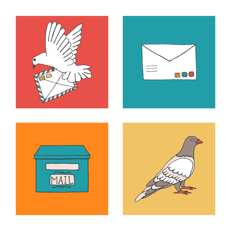 Vector illustration of pigeon carrying a letter with stamps, dove, post box. Hand drawn communication icon set. Pigeon post signs in colorful blocks Vettoriali