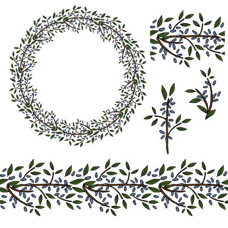 Vector wreath with honeysuckle berries. Seamless pattern brush with north berries. Frame, border  and design elements with brunches and green leaves