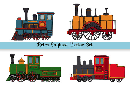 Vector set of retro engines. Collection of vintage trains isolated on white background. Cartoon style illustration of old trains for children