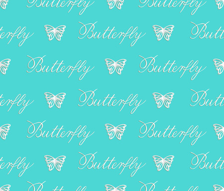 Vector seamless pattern of paper cut white butterflies on turquoise background. Repeating background for children décor, greeting card, stationery, poster. Butterfly copperplate calligraphy. Hand lettering