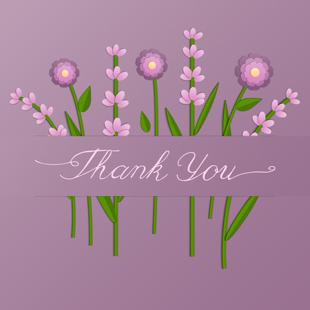 Vector illustration of paper cut pink flowers on purple background. Thank you card. Hand lettering for greeting card, stationery, poster