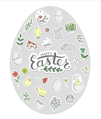 Vector set of Easter stickers framed in egg shape. Hatching chicks, rabbits, eggs, herbs, flowers in pastel colors. Cute cartoon style illustration. Easter card design with lettering. Children illustration.