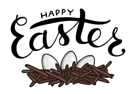 Vector Easter lettering with eggs isolated on white background. Season greeting typography. Cute hand drawn Happy Easter text. Card, invitation, banner, poster, postcard design.