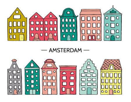 Vector illustration of cute houses. Amsterdam street icons collection. Bright hand drawn set of Holland style buildings