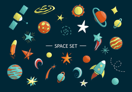 Vector set of space objects. Illustration of space clip art. Bright planet, rocket, star, ufo, galaxy, moon,   spaceship, sun in cartoon style. Good for children posters