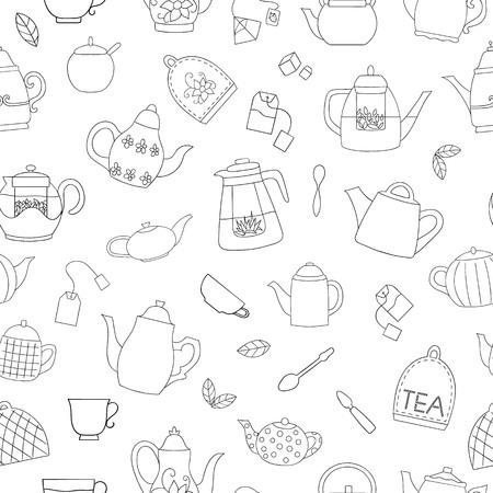 Patrón transparente de vector de teteras en blanco y negro. Fondo de repetición de té monocromo. Hervidores de arte lineal sobre fondo blanco. Telón de fondo de estilo vintage doodle