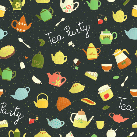Vector seamless pattern of colorful teapots, pie, sandwich, jam jar. Bright tea repeat background. Colored kettles on dark background. Vintage textured doodle style backdrop. Tea party invitation