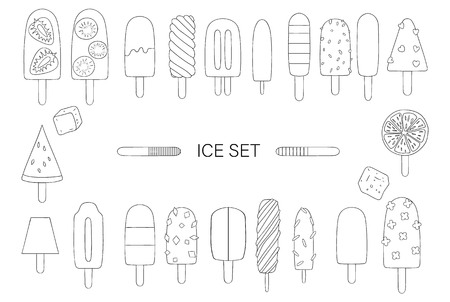 Vector illustration of black and white ice-cream. Bright ice set. Cheerful collection of sweet summer dessert. Drawing of ice isolated on beige background