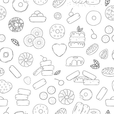 Vector seamless pattern of black and white doughnuts. Donut repeat backdrop. Linear art repeat texture of sweet bakery goods. Graphic drawing of cakes