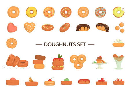 Vector illustration of colorful doughnuts. Bright donuts set. Cheerful collection of sweet bakery goods. Drawing of cakes with glazing and sprinkles isolated on white background Vecteurs