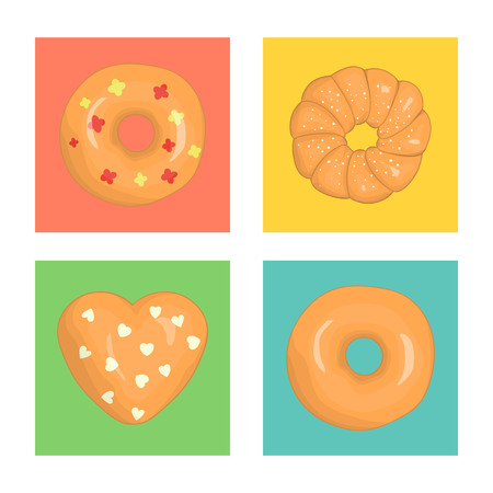 Vector set of colorful doughnuts. Colored donuts on blue, green, yellow, pink background. Bright and cheerful illustration in colorful blocks