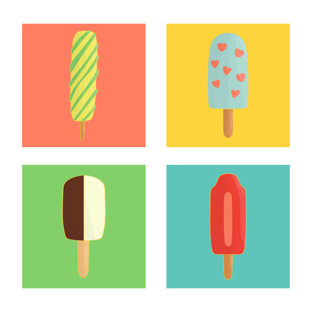 Vector set of colorful ice-cream. Colored ice on blue, green, yellow, pink background. Bright and cheerful illustration of cold summer dessert in colorful blocks Çizim