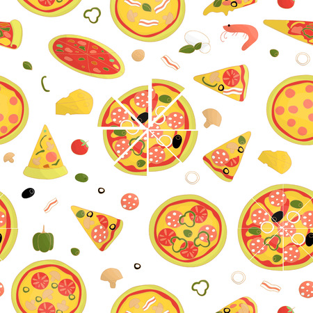 Vector seamless pattern of colored pizza. Repeat background with isolated bright pizza pieces, cheese, tomato, pepper, basil, mushroom, sausage, salami, bacon,  olive, shrimp, mozzarella, prawn