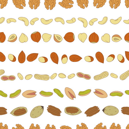Vector seamless pattern of colored nuts. Repeat background with isolated bright hazel nut, walnut, pistachio, cashew, almond, pecan, peanut, macadamia. Food texture in cartoon or doodle style