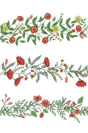 Vector set of garden plant pattern brushes with stylized rose, daisy, carnation, rosemary. Hand drawn cartoon style illustration. Cute summer or spring templates for wedding, holiday or card design