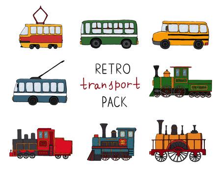 Vektorset von Retro-Motoren und öffentlichen Verkehrsmitteln. Vektor-Illustration von Vintage-Zügen, Bus, Straßenbahn, Oberleitungsbus isoliert auf weißem Hintergrund. Karikaturartillustration alter Transportmittel für Kinder