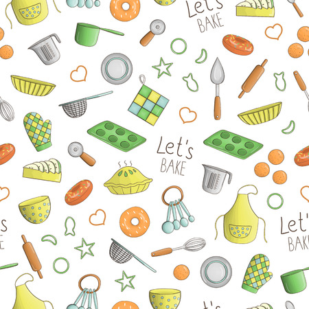 Vector seamless pattern of colored kitchen and baking tools. Repeat background with isolated colorful apron, cutlery, pie, donut, measuring cup, whisk, dish, spoon, pot, saucepan, cookie cutter, pin,