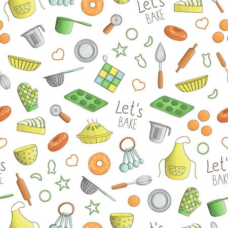 Vektornahtloses Muster von farbigen Küchen- und Backwerkzeugen. Wiederholen Sie den Hintergrund mit isolierten bunten Schürze, Besteck, Kuchen, Donut, Messbecher, Schneebesen, Schüssel, Löffel, Topf, Kochtopf, Ausstecher, Stift, Vektorgrafik