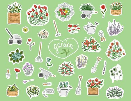 Vektorset aus farbigen Aufklebern mit Gartengeräten, Blumen, Kräutern, Pflanzen. Helle Packung Spaten, Schaufel, Rechen, Schubkarre, Gießkanne, Schere, Rasenmäher, Schlauch, Kelle, Handgabel, Blumenbeet. Cartoon-Stil
