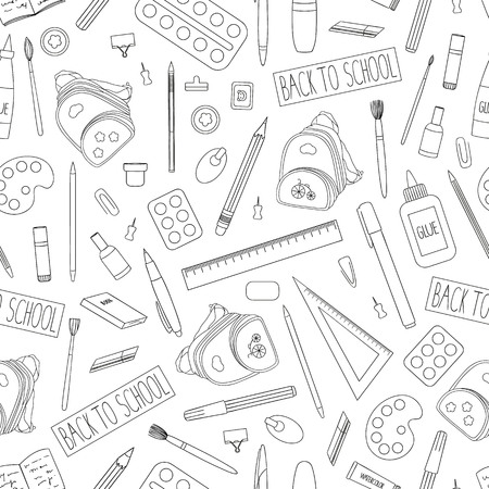Vector seamless pattern of black and white stationery, office or school supplies. Back to school repeat background with isolated monochrome backpack, pen, pencil, ruler, glue, paint, brush, pushpin, binder, paper clip, eraser, stamp, book