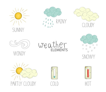 Vector illustration of weather elements with text. Cute doodle style picture of sun, wind, rain, snow, clouds, hot and cold temperature Illustration