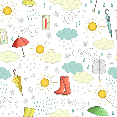 Vector seamless pattern of weather elements with rubber boots and umbrella. Cute doodle style repeat background of sun, wind, rain, snow, clouds, hot and cold temperature