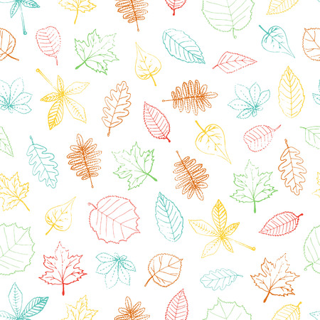 Vector seamless pattern of colored hand drawn textured leaf. Autumn repeat background with isolated colorful birch, maple, oak, rowan, chestnut, hazel, linden, alder, aspen, elm, poplar, willow, walnut, ash leaves