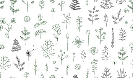 Vector seamless pattern of black and white flowers, herbs, plants. Monochrome  pack of elements for natural design. Cartoon style.