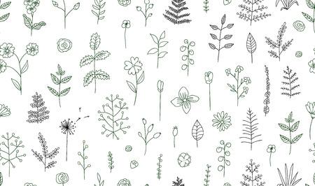 Vector nahtloses Muster von schwarzen und weißen Blumen, Kräutern, Pflanzen. Monochromes Paket von Elementen für natürliches Design. Cartoon-Stil.