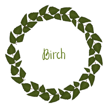 Vector wreath of birch leaves. Hand drawn cartoon style illustration. Cute autumn frame for wedding, holiday, back to school or card design Illustration