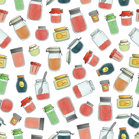 Vector seamless pattern of colored jam jars. Colorful vintage repeat background with preserved food in pots isolated on white background.  Watercolor effect.