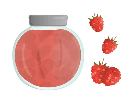 Vector illustration of colored jar with raspberry jam. Raspberry, pot with marmalade isolated on white background. Watercolor effect. Illustration