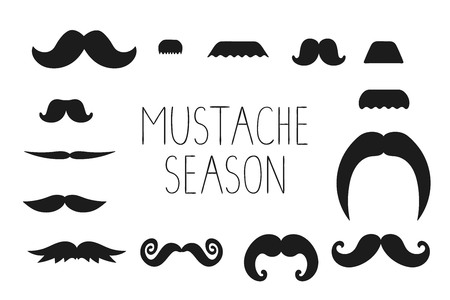 Vector set of black moustache isolated on white background. Illustration for prostate cancer awareness event or masculine design. Moustache season poster