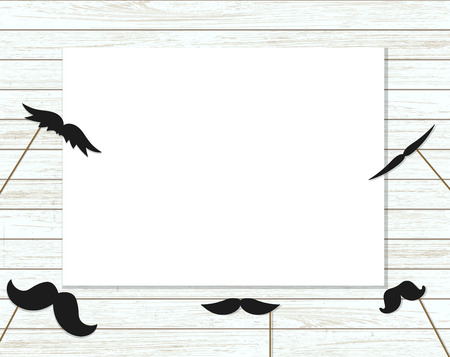 Vector illustration of moustache on stick on shabby wooden background with place for text. Illustration for prostate cancer awareness event or masculine design. Moustache season poster. Photo booth props picture