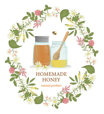 Vector illustration of honey jars framed with wild flowers wreath and bumblebees. Banner, card, template, sign, signboard or poster for home made honey shop. Watercolor effect.