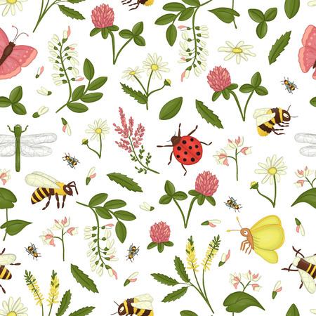Vektor nahtlose Muster von Wildblumen, Biene, Hummel, Libelle, Marienkäfer, Motte, Schmetterling. Sich wiederholender Hintergrund mit Wiesen- oder Feldinsekten, Akazie, Heidekraut, Kamille, Buchweizen, Klee, Melilot