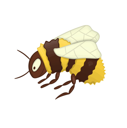 Vector illustration of cute bumblebee isolated on white background. Colored picture of insect in cartoon style. Watercolor effect. 向量圖像