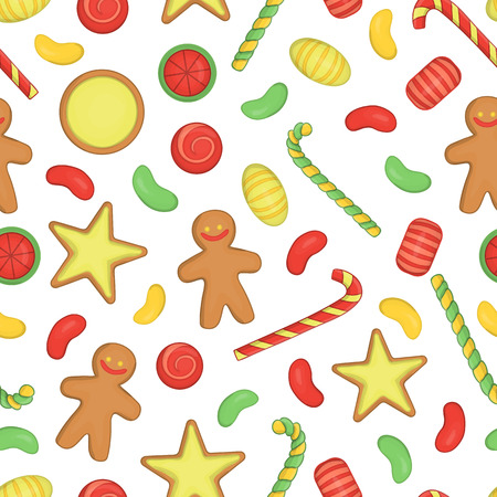 Vector colored seamless pattern of Christmas or New Year elements on white background. Colorful repeating background with sweets, lolly, candy cane, gingerbread, cookie, biscuit.