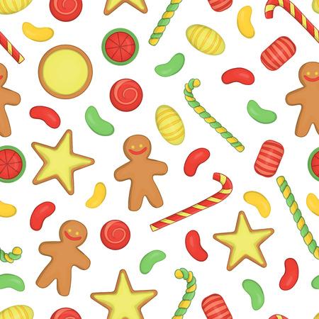 Vector gekleurde naadloze patroon van Kerstmis of Nieuwjaar elementen op witte achtergrond. Kleurrijke herhalende achtergrond met snoep, lolly, zuurstok, peperkoek, koekje, koekje.