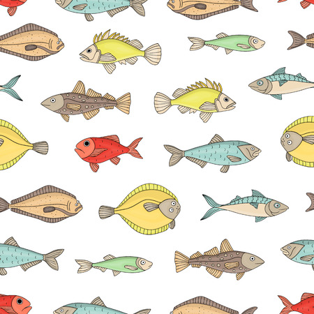Vector colored seamless pattern of fish. Colorful repeating background with halibut, rock-fish, mackerel, herring, flatfish, sprat, grouper, cod. Underwater illustration